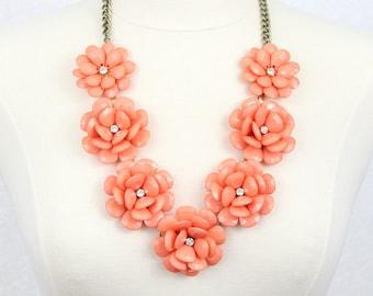 Beaded Rose Necklace Flower Statement Necklace Coral Orange Rosette Necklace