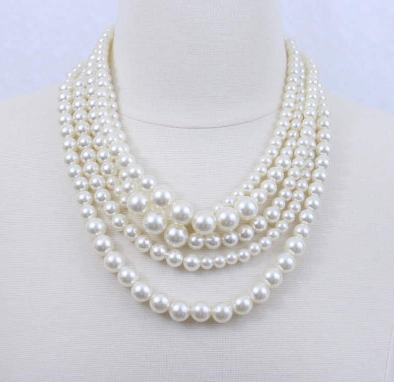 Chunky Pearl Statement Necklace Ivory Layered Pearl Necklace Bridal Pearl Necklace Five Strand Pearl Twisted Necklace Bridesmaids/' Necklace