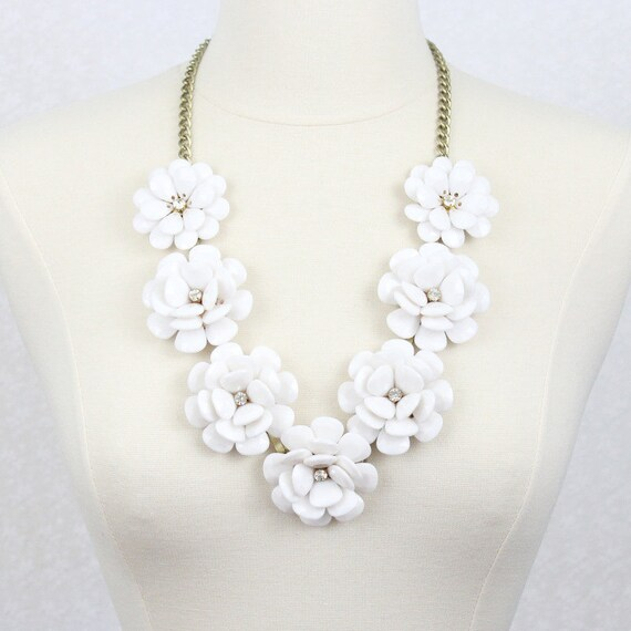 Beaded Rose Necklace White Flower Statement Necklace Big Etsy