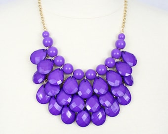 Statement Necklace Teardrop Necklace Multi Layered Necklace Chunky Necklace Purple Bib Necklace