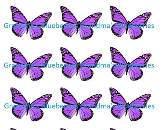 Edible Wafer Purple Butterflies Wedding Cake Toppers- Cake Decorations set of 15