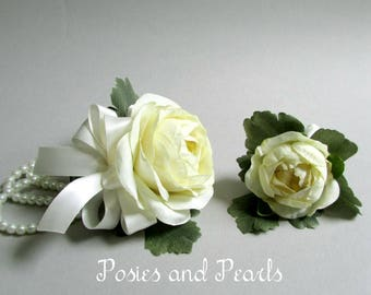 Silk flower corsage etsy ivory ranunculus and pearl bracelet corsage with boutonniere silk flower wrist corsage silk boutonniere wedding flowers sublime mightylinksfo