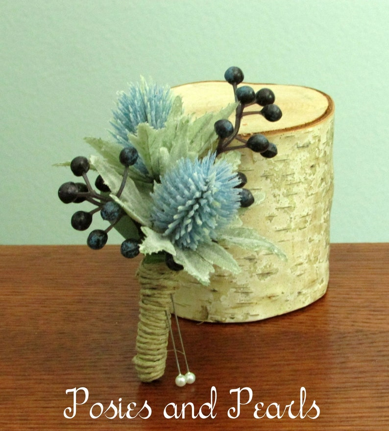 Winter Light Blue Thistle and Navy Blue Berry Silk Flower Boutonnieres with Twine Stem Wrap Summer Weddings Loyalty