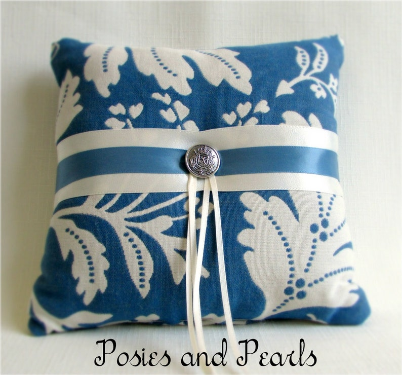 Cotton Leaf Print Ivory and Blue Ring Bearer Pillow Reversible Wedding Ring Cushion Colonial Blue Oak