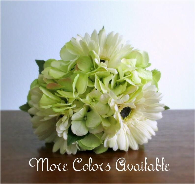 cd4191736bffc Ivory Gerbera Daisy & Light Lime Green Hydrangea Bouquet, Silk Flowers,  Pink, Peach, Orange, Red, Yellow, Blue, Purple, Gold, Brown,