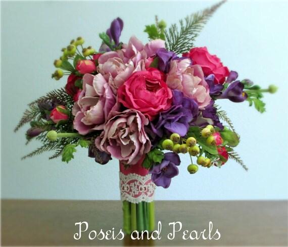 Bouquet Lavanda Sposa.Lavanda Viola Rosa E Verde Fiore Di Seta Bouquet Da Sposa Etsy