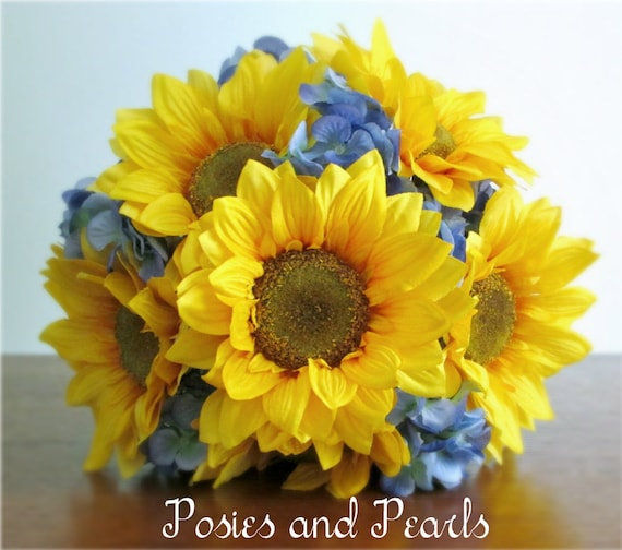 e430e1ea3d455 Golden Yellow Sunflower and Blue Hydrangea Silk Flower Wedding Bouquet,  Burlap, Lace Wrap, Bridal or Bridesmaid,