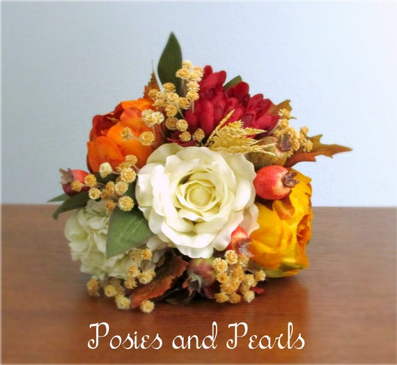 Fall Silk Flower Bouquet Ivory Red Orange Yellow And Tan Etsy