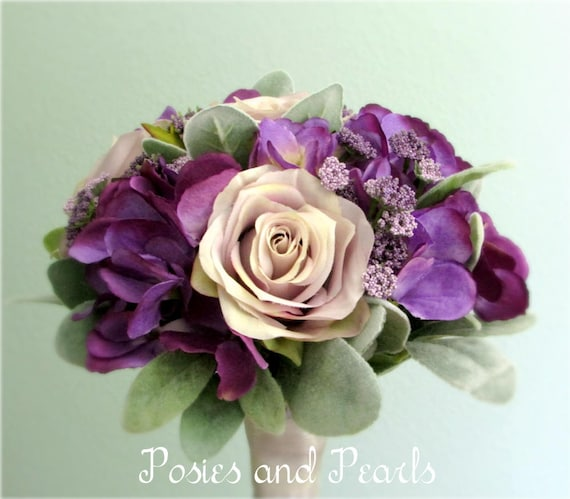 Lavender rose and purple hydrangea silk flower wedding bouquet etsy mightylinksfo