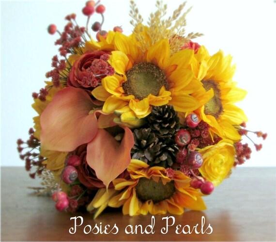 Fall Silk Flower Bridal Bouquet Sunflowers Ranunculus Calla Etsy