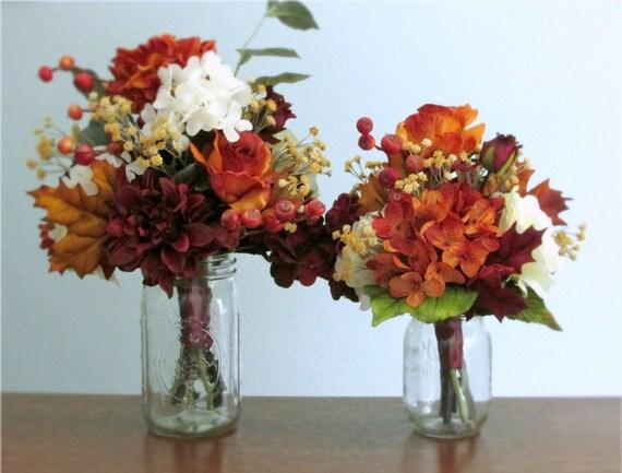 Fall Silk Flower Centerpiece Bouquet Hydrangea Roses Etsy