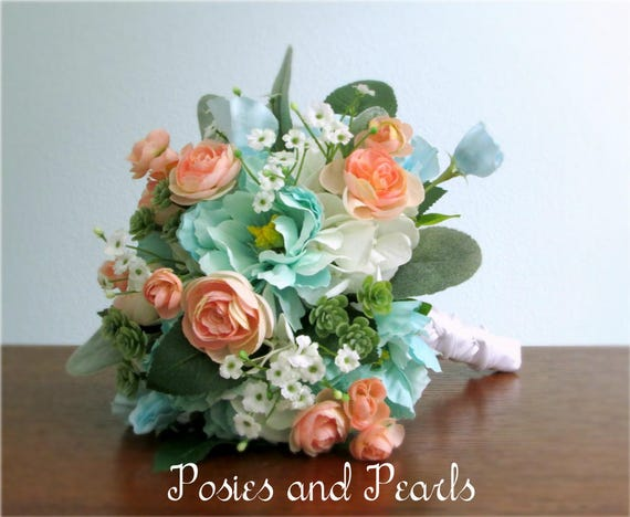 Peach Pink Turquoise White And Green Silk Flower Bouquet Etsy