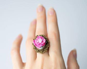 Pink flower ring etsy pink rose ring polymer clay ring rose flower ring statement ring resizable ring pink flower ring nature ring red jewelry large ring mightylinksfo