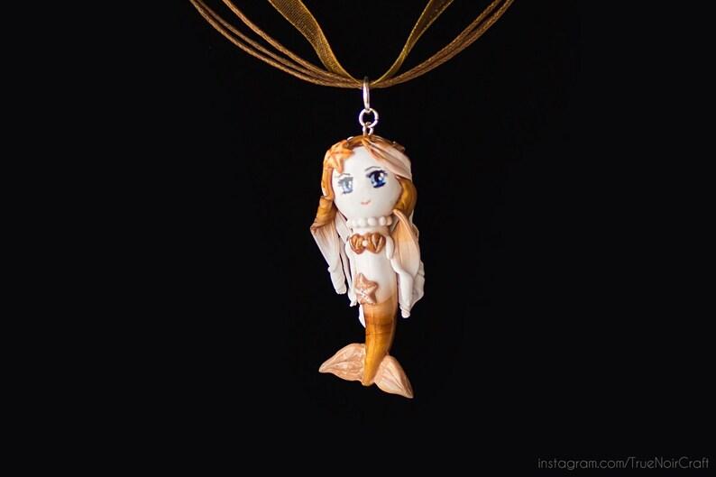 Golden milk mermaid necklace Polymer clay Mermaid pendant image 0