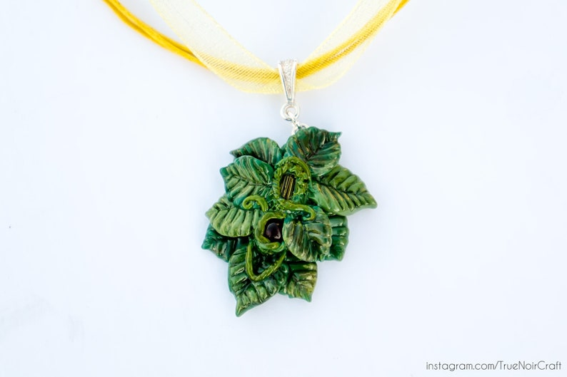 Fairy leaf pendant necklace Polymer clay pendant Forest image 0