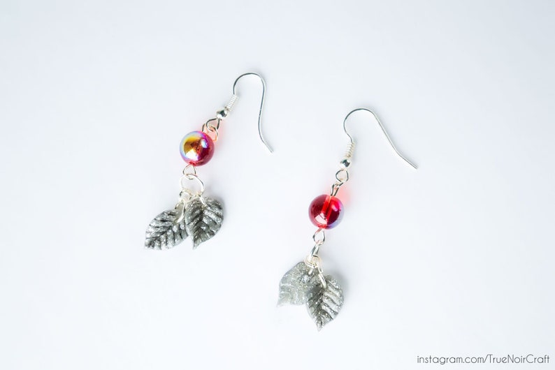 Red drop leaf earrings Polymer clay earrings Red berry image 0
