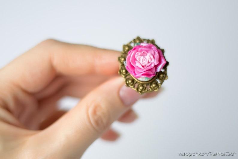 Pink rose ring Polymer clay ring Rose flower ring Statement image 0