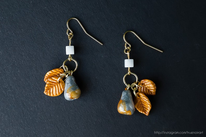 Golden pear leaf earrings Polymer clay Fruit jewelry Leaf image 0