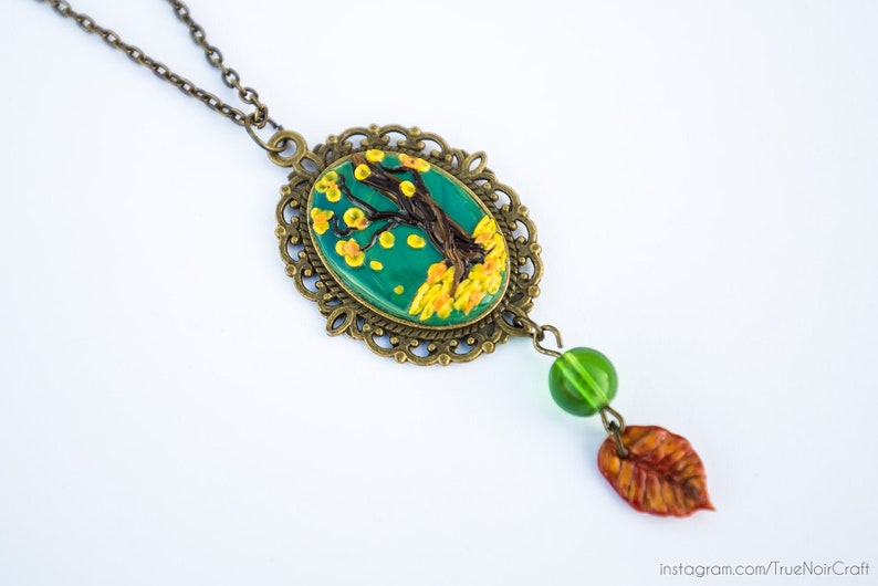 Fall tree cameo necklace Polymer clay pendant Tree pendant image 0