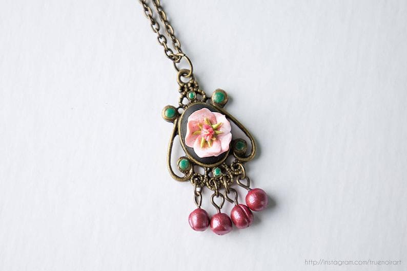 Plum blossom cameo necklace Polymer clay flowers Plum image 0