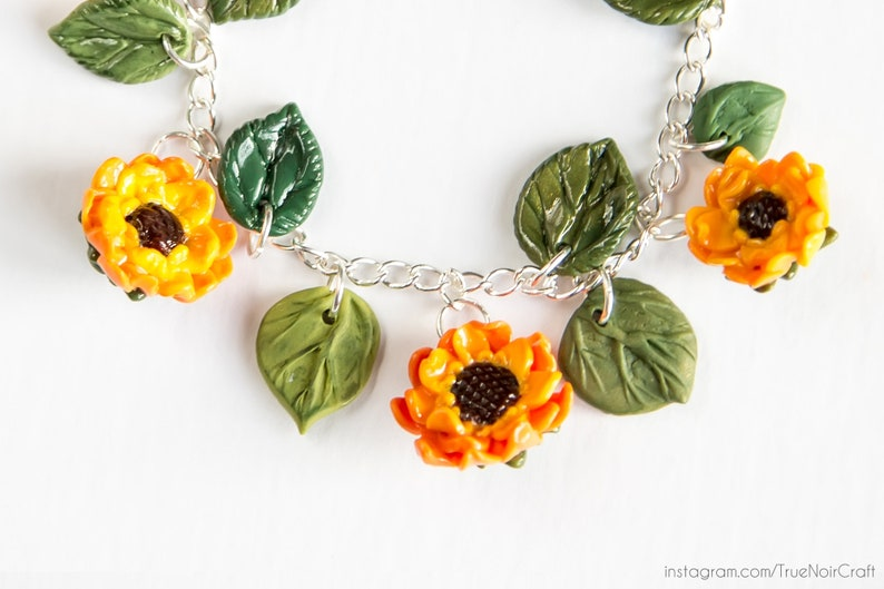 Sunflower bracelet Polymer clay Sunny jewelry Sunflowers image 0