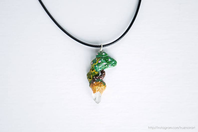 Crystal tree necklace Polymer clay tree Mountain tree image 0
