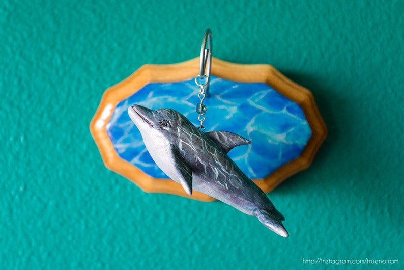 Dolphin wall sculpture polymer clay figurine dolphin figure image 0