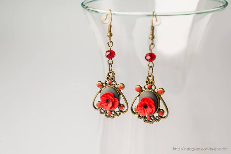 Victorian red poppy chandelier earrings Polymer clay flowers image 0
