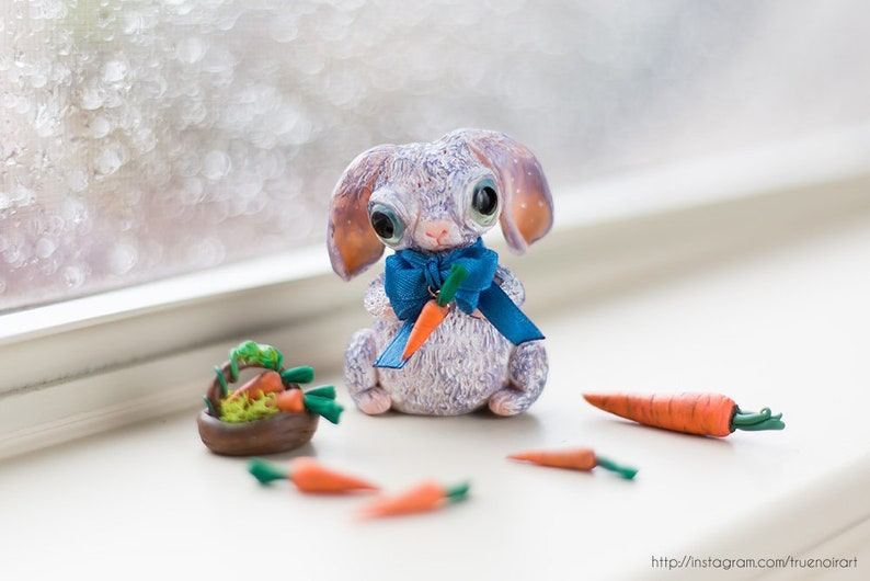 Bunny figurine polymer clay Bunny with carrot sculpture image 0