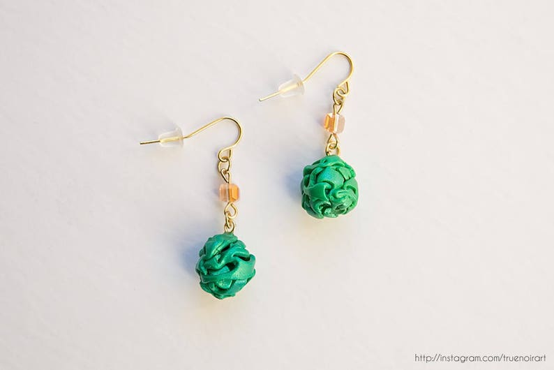Abstract green ball earrings Polymer clay earrings unique image 0