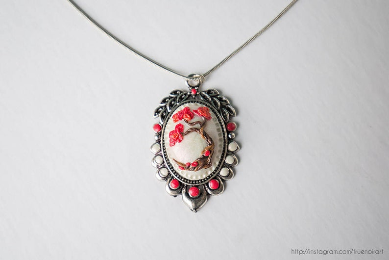 Red maple tree necklace Polymer clay tree Bonsai pendant image 0