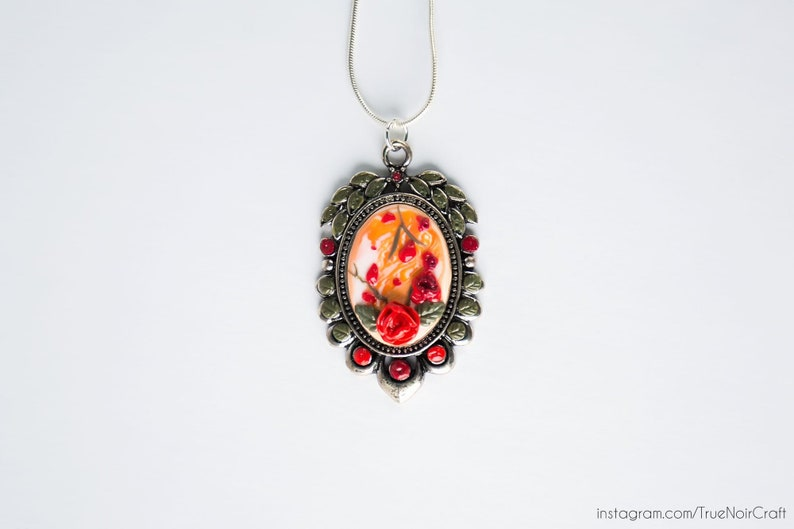 Red rose cameo necklace Polymer clay rose Antique silver image 0
