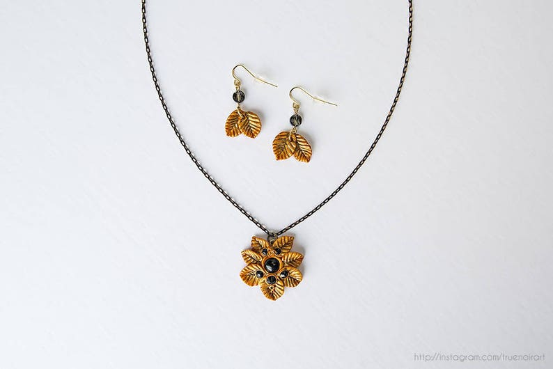 Gold leaf moth necklace and earrings set Polymer clay Gold & image 0