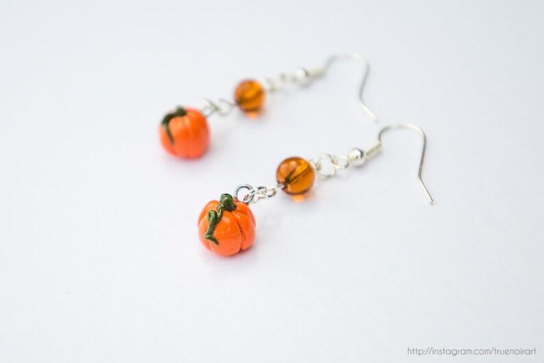 Pumpkin earrings Polymer clay earrings Pumpkin fishhook image 0