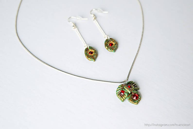 Forest green leaf jewelry set OOAK Polymer clay Forest image 0