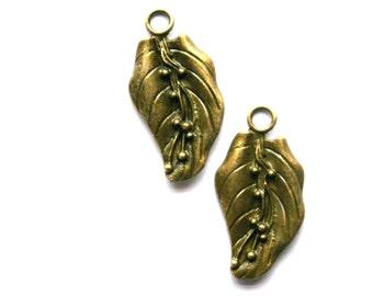 Antique Bronze Leaf Charm- Set of 2    -96-