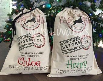 Santa Bags, Name Embroidered, Canada, reusable gift bag
