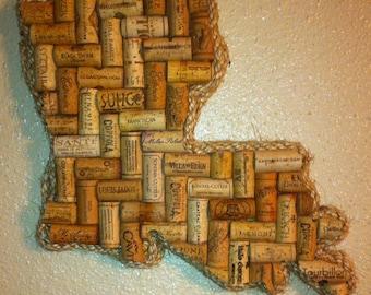 Louisiana  (or any State) Wine Cork Art