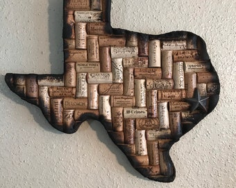 Texas (or any state) wine cork wall decor with burnt edging
