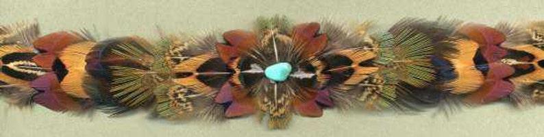 Pheasant Feather Crest-Less Hat Band W Semi-Precious Stone