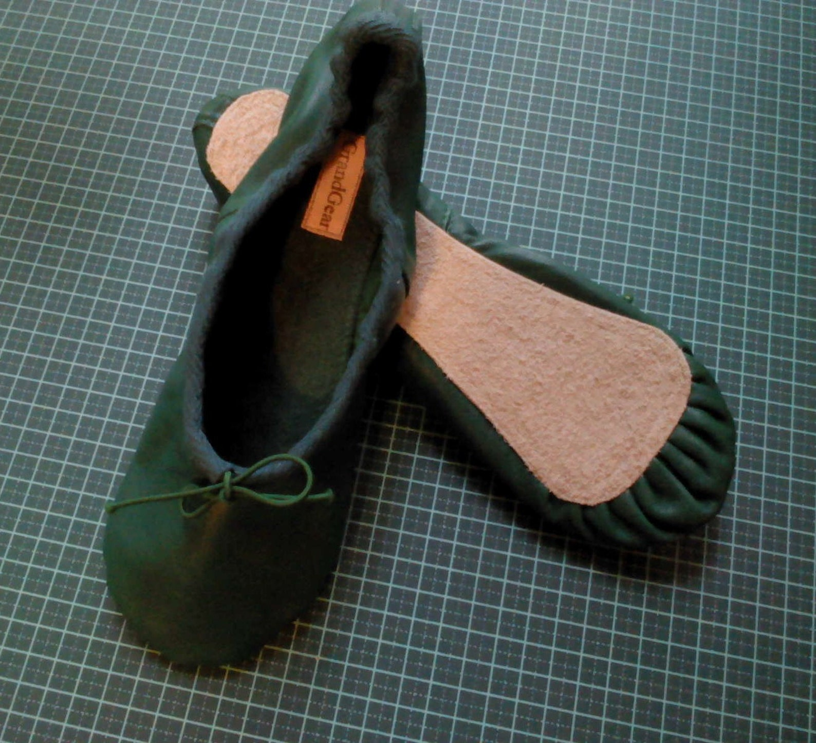 green leather ballet shoes - full sole or split sole - adult sizes