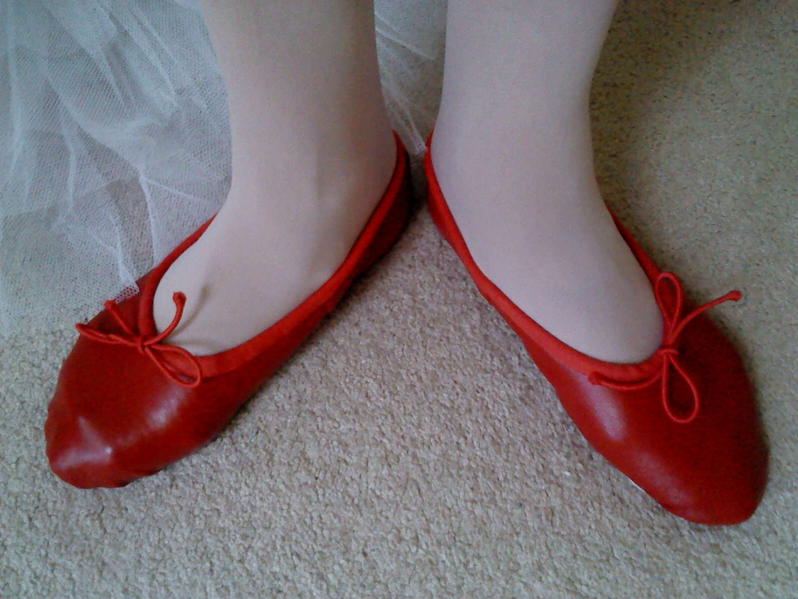 red leather ballet slippers - full soles or split soles