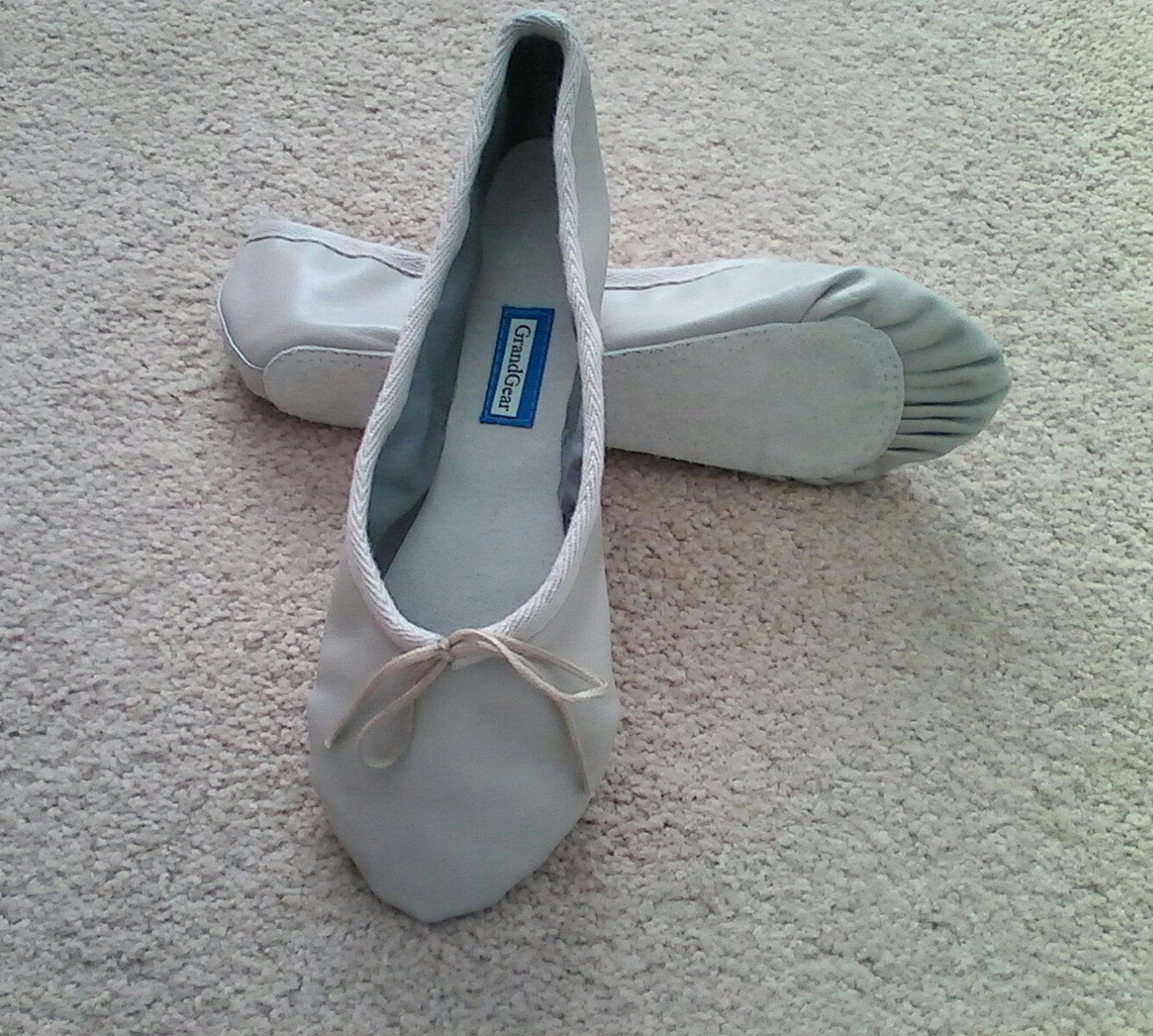 light grey leather ballet shoes - full sole - adult sizes