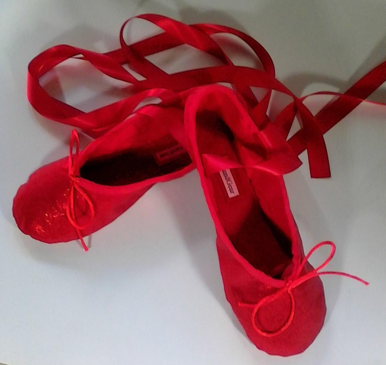 ruby red sparkle ballet slippers - full sole - children's sizes