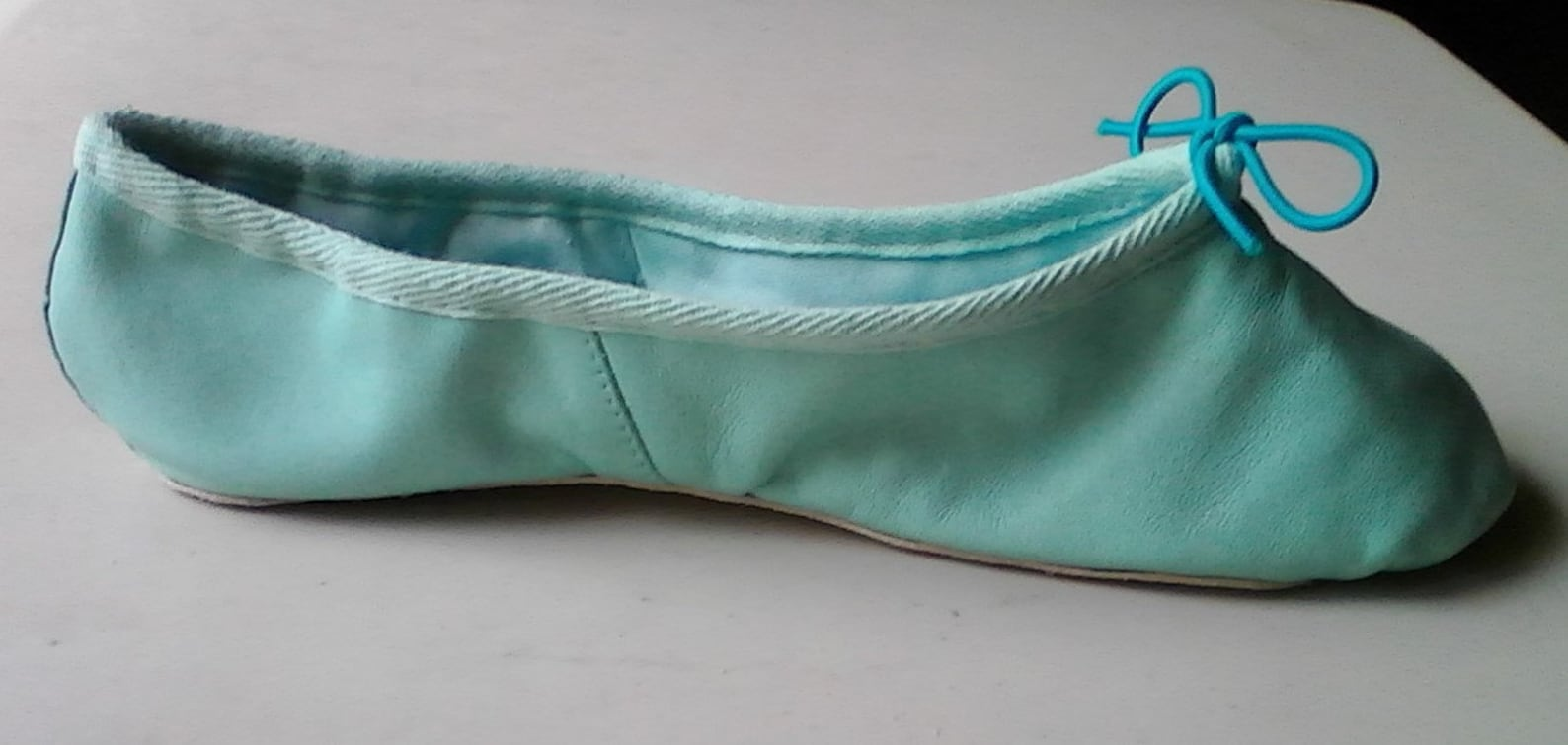 robin's egg blue leather ballet shoes - full sole (or split sole) - adult sizes
