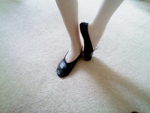 Black Leather Ballet Slippers Adult