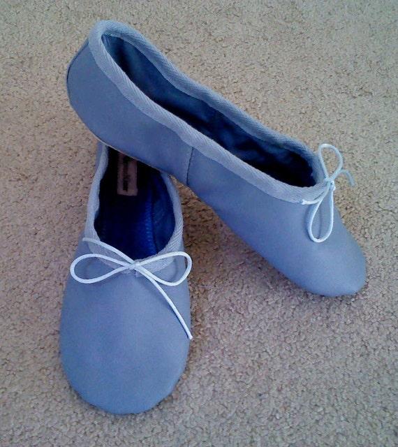 Sky Blue Leather Ballet Slippers Full
