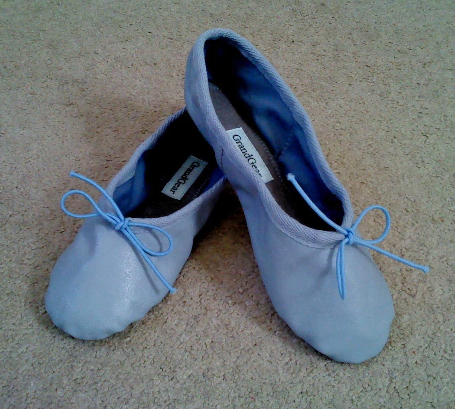 jet blue leather ballet shoes - full sole - adult sizes