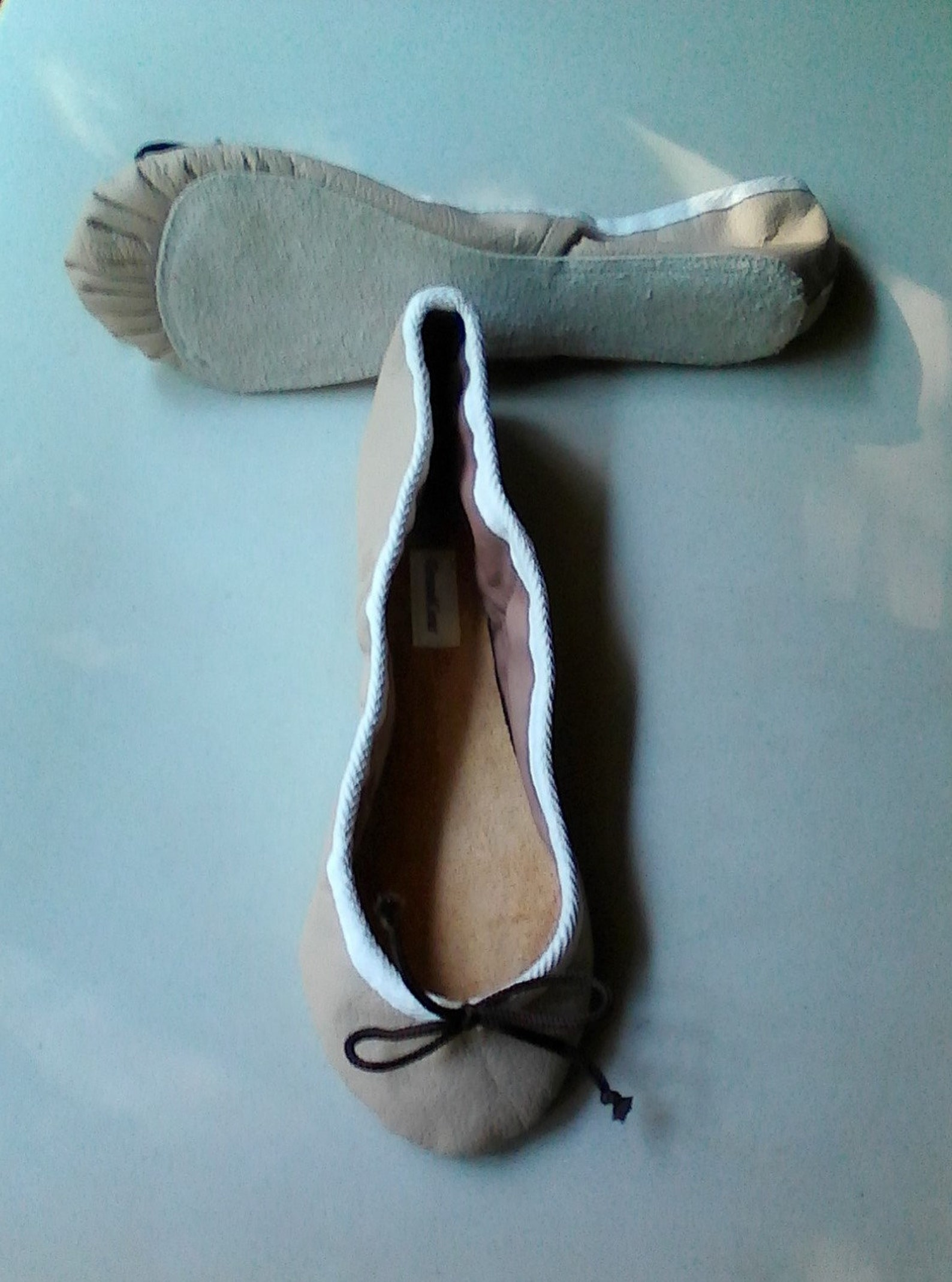 extreme low-cut taupe leather ballet shoes - adult sizes
