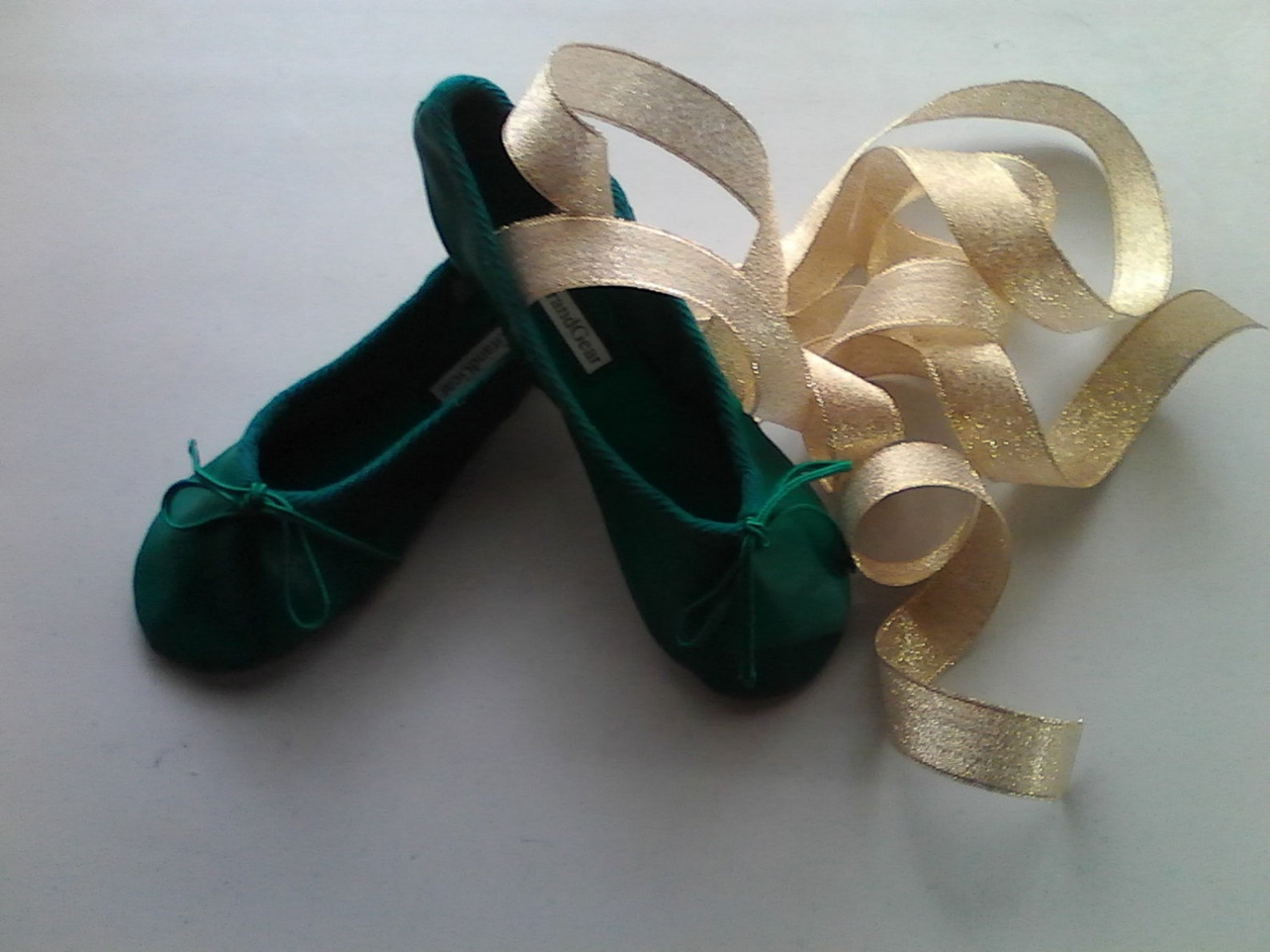 green leather ballet shoes with your choice of ribbons - full sole or split sole - adult sizes